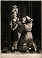 A monk is on his knees in front of a young woman. Mezzotint. Wellcome V0039011.jpg