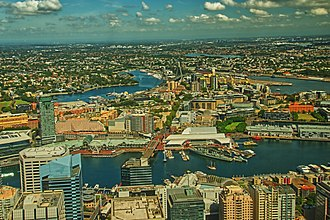 Darling Harbour - A view of Darling Harbour from Sydney Tower on Feb 16, 2019