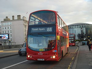 London Buses route 188 - Abellio London Wright Eclipse Gemini bodied Volvo B7TL on Waterloo Bridge in October 2013