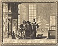 Old man by fireplace with two attendants