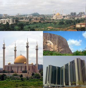 Clockwise from top: Skyline of Abuja, Zuma Rock, Central Bank HQ and Abuja National Mosque