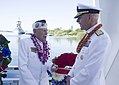 "Adm. Scott Swift, commander, U.S. Pacific Fleet, right, and Pearl Harbor survivor Delton ""Wally"" Walling, left, talk following the conclusion of the floral tribute aboard the USS Arizona Memorial (38917470311).jpg"