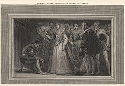 Admiral Drake knighted by Queen Elizabeth' (Sir Francis Drake) from NPG