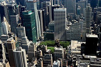 Bryant Park - The park from above, a bit of green amid Midtown Manhattan's buildings