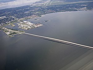 Gandy Bridge - Image: Aerial view of South Tampa, Mac Dill AFB and Gandy bridge 2