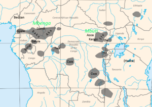 Pygmy music - Location of pygmy peoples