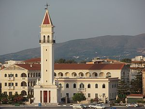 English: Belltower of Agios Dionysios Church i...