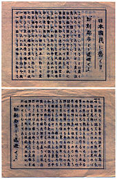 Brownish leaflet covered in Japanese writing