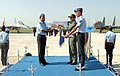 Air Marshal Arup Raha AVSM VM AOC-in-C Western Air Command IAF exchanging the memento with the Commanding Officer 'Desert Tigers', Wing Commander Sharad Aneja, during SU 30 MKI Induction Ceremony.jpg