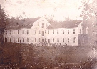 Alamance County, North Carolina - Alamance Cotton Factory, built by Edwin M. Holt, first manufacturer of colored cotton fabrics in the South on power looms. Photograph taken in 1837 after factory constructed.