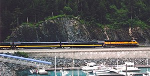 Whittier, Alaska - An Alaska Railroad passenger train leaving Whittier towards the tunnel