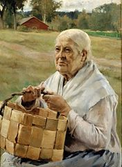 Old Woman with a Chip Basket
