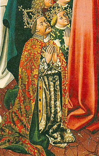 Elizabeth of Luxembourg - King Albert and Queen Elizabeth as depicted in Albrechtsaltar in Klosterneuburg Monastery