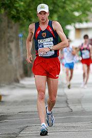 Alex Schwazer in azione durante il campionato italiano di marcia 20 km del 2008.