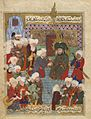 Ali Receiving the Bay'a (Swearing of Allegiance) (painting, recto; text, verso), folio from a manuscript of Maktel-i Ali Resul of Lami'i Chelebi, late 16th century.jpg