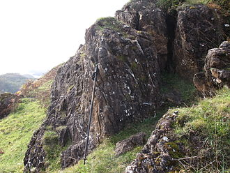 Highland Boundary Fault - Altered serpentinite and associated sediments of the Highland Border Complex caught up in the fault zone – exposed on Druim nam Buraich, near Balmaha