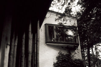Villa Mairea - View of second floor window from entrance
