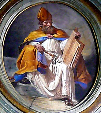 Ambrose - Saint Ambrose with scourge and book, a painting in the church of San Giuseppe alla Lungara, Rome