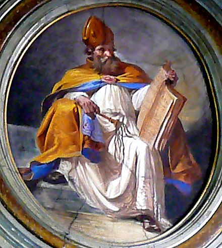 Saint Ambrose with scourge and book, a painting in the church of San Giuseppe alla Lungara, Rome AmbroseGiuLungara.jpg