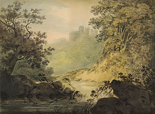 Riverside landscape with a castle in the distance