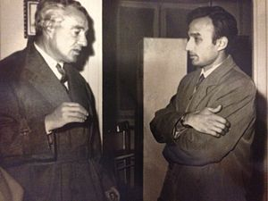 """Amit Bose - Bose with Vittorio De Sica on the set of """"Il Tetto"""" (""""The Roof"""") in Rome (1954/55)."""