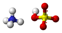 Ball-and-stick model of an ammonium cation (left) and a bisulfite anion (right)