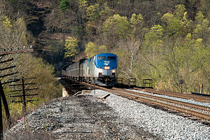Capitol Limited (Amtrak train) - The Capitol Limited emerges from the Graham Tunnel and crosses the Potomac River in Magnolia, West Virginia.
