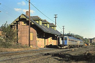 Windsor Locks station - An Amtrak train at the 1875-built station in 1979