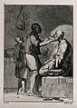 An Egyptian barber shaving a man in his shop; a boy assistan Wellcome V0019810ER.jpg