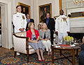 An Evening Parade guest of honor, Vice Chief of Naval Operations Adm. Mark E. Ferguson III, standing left, attends the Evening Parade reception at the Home of the Commandants in Washington, D.C., June 7, 2013 130607-M-NK962-241.jpg