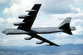 An air-to-air left underside view of the 92nd Bombardment Wing's new camouflaged B-52G Stratofortress aircraft DF-ST-85-12450.jpg