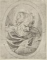 An apostle resting his head on his left hand and reading a book, in an oval frame, from Christ, the Virgin, and Thirteen Apostles MET DP837896.jpg