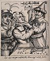 An itinerant surgeon extracting stones from a woman's head; Wellcome V0016241.jpg
