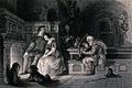 An old man plays a harp as a young couple sit together by a Wellcome V0040332.jpg