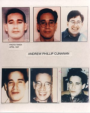 Andrew Cunanan - A collection of photos from the FBI, showing the ease with which Cunanan could change his appearance.