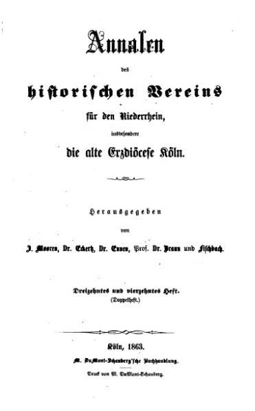 File:Annalen des Historischen Vereins für den Niederrhein 13-14 (1863).djvu