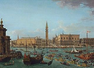 Procession de gondoles dans le Bacino di San Marco, Venise