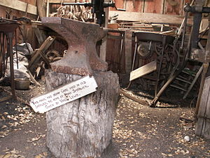 Fort Croghan - Anvil and stump from Smithwick Mills, home of Noah Smithwick, early Fort blacksmith.