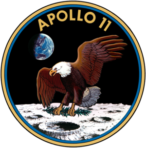 A logo depicting an eagle upon the surface of the moon