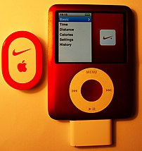 3G iPod with Nike+ reciever attached and trans...