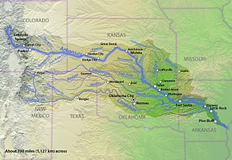 Arkansas River - Image: Arkansasrivermap