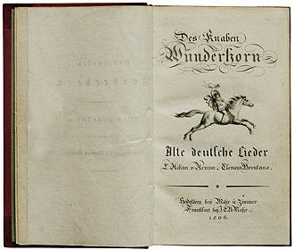 Des Knaben Wunderhorn - Title-page of  Des Knaben Wunderhorn: Alte deutsche Lieder, Volume 1, published in 1806