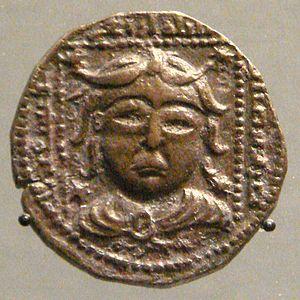 Nur ad-Din Arslan Shah I - Coin of Arslan Shah, mint of Mossul, depicting a classical portrait, 1197. British Museum.