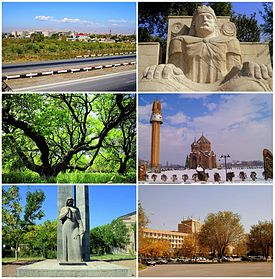 From top left: View of modern Artashat • Statue of King Artaxias I Apricot gardens in Artashat • Khor Virap Monastery دوسری جنگ عظیم memorial • Statue of Kevork Chavush