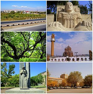 From top left: View of Artashat • Statue of King Artaxias I Apricot farms  • Surp Hovhannes Church World War II memorial • Downtown Artashat