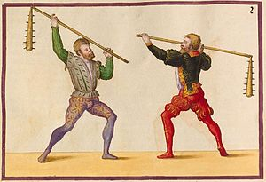 Flail (weapon) - Spiked versions of long-handled peasant flails.  From Paulus Hector Mair's combat manual Arte De Athletica
