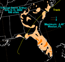 A map depicting rainfall totals across the Southeastern United States produced from a weak tropical storm.