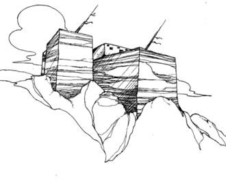 Bis sa'ani - Image: Artist's reconstruction of Bis sa'ani Pueblo, c. 1150 CE