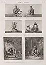 Arts et métiers. 1. L'arçonneur de coton; 2.3. Le fileur et la dévideuse de laine; 4.5. Le tourneur et le serrurier en bois (NYPL b14212718-1268832).jpg