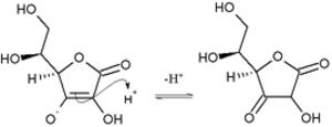 Ascorbic acid (molecular aspects) - Nucleophilic attack of ascorbic enol on proton to give 1,3-diketone